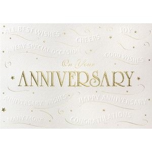 Embossed Anniversary Wishes Greeting Card