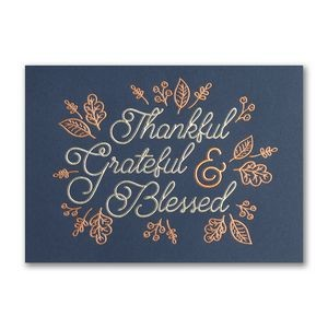 Thankful, Grateful & Blessed Thanksgiving Holiday Card