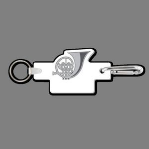 4MM Carabiner Clip with Key Ring & Key Tag (French Horn)