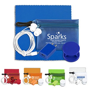 """Tons-o-Tunes"" Mobile Tech Auto & Home Accessory Kit in Pouch w/Carabiner"