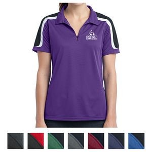 Sport-Tek® Ladies Tricolor Shoulder Micropique Sport-Wick® Polo