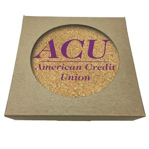 Set of 4 Round Cork Coasters w/ Natural Kraft Box