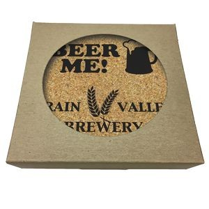 Set of 4 Square Cork Coasters w/ Natural Kraft Box