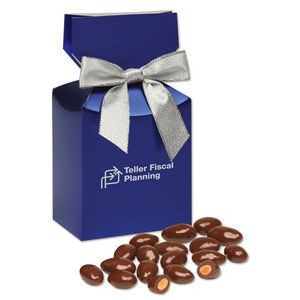 Chocolate Covered Almonds in Metallic Blue Gift Box