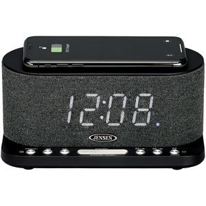 Jensen Dual Alarm Clock Radio with Wireless Qi Charging